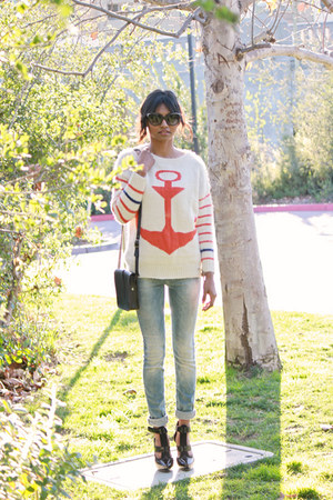 ruby red sheinsidecom anchored sweater