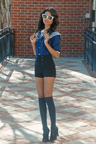 navy unknown blouse - black sailor sailor shorts shorts - navy Topshop socks
