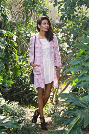 cream lace Sheinside dress - light pink fringe Zara jacket
