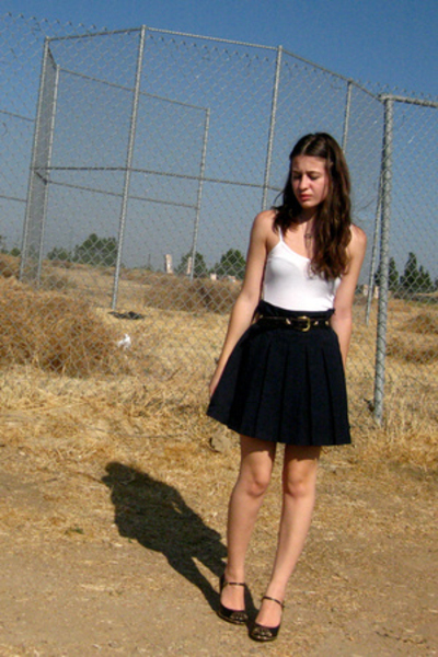 blue target girls skirt - black DKNY shoes - black  top - black vintage belt