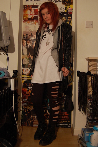 Topshop dress - h&m DIY slashes tights - dms shoes -  jacket -  purse