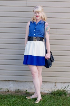blue color block Forever21 skirt - navy coach vintage bag