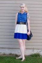 blue color block Forever21 skirt - navy coach vintage bag