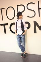 Zara blouse - Hong Kong vest - Nine West shoes - Topshop hat - Zara belt