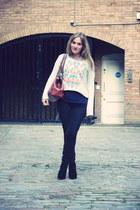 silver Topshop sweatshirt - black Marc by Marc Jacobs jeans - navy H&M shirt