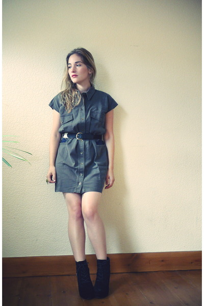 army green gestuz dress - black Topshop wedges