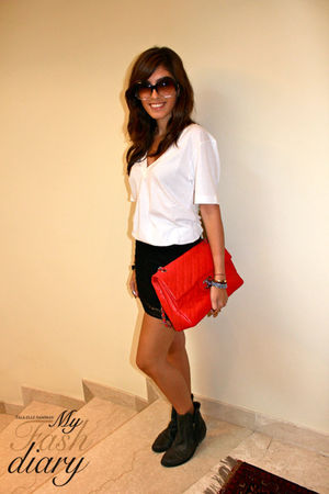 Kurt Geiger boots - H&M skirt - Chanel bag - truly madly deeply shirt