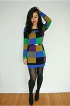 Betsey Johnson sweater - black belt - Zara heels - silver Ebay ring