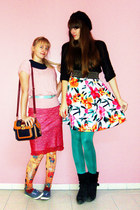 hot pink tropical H&M skirt - red unknown skirt - orange klimt romwe leggings