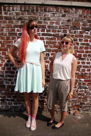 aquamarine with pink belt H&M dress - off white H&M blouse