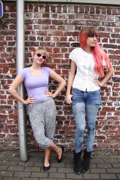 white lace vintage blouse - light purple H&M shirt - blue H&M tights
