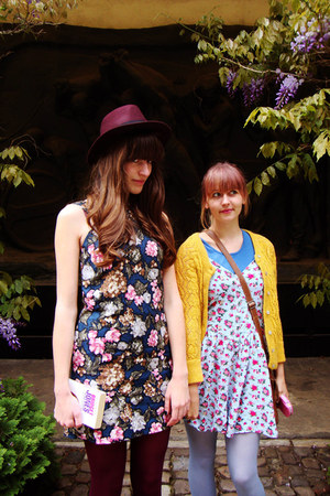 black Diesel boots - navy flower Mango dress - magenta H&M hat