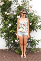 light blue H&M shorts - black rayban sunglasses - white Moschino top