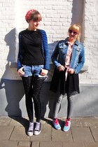 red H&M shoes - black lace H&M dress - sky blue jeans H&M jacket