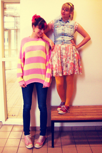 light blue H&M jacket - bubble gum Converse shoes - salmon rire boutique dress