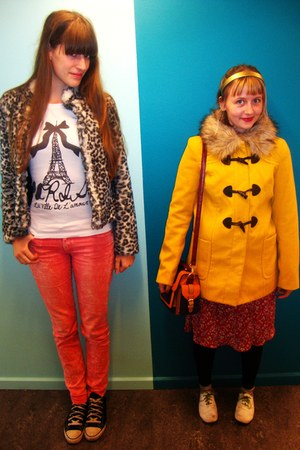 gray leopard print H&M coat - yellow H&M coat - white H&M shoes