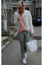 white Stradivarius jacket - peach H&M sweater - white Zara bag