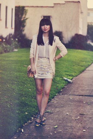 eggshell sequin Tobi skirt - off white Lovers  Friends blazer