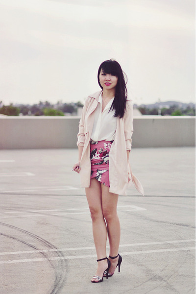 pink tropical floral Zara skirt - neutral trench PERSUNMALL coat