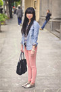 Pink-siwy-jeans-black-satchel-botkier-bag-striped-h-m-t-shirt