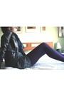 Purple-tights-black-dress-gray-jacket-blue-scarf-black-shoes