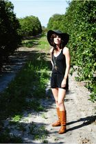 black XXI hat - black TJ Maxx - gold necklace - brown x-appeal boots - gold Simp