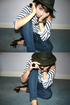 blue Zara top - blue Topshop jeans - brown Topshop shoes - green vintage hat - b