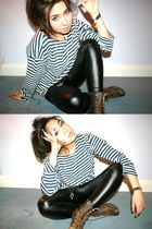 blue vintage top - brown vintage boots - black Topshop pants