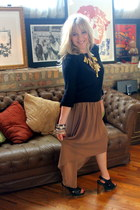 camel asymmetrical alythea skirt - Marni for H&M shoes - black H&M sweater