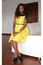 yellow lace DIY dress - black DIY heels
