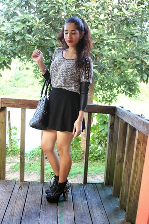 black 579 blouse - black Jeffrey Campbell boots - black Forever 21 shirt