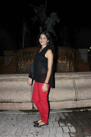 black TJ Maxx blouse - red TJ Maxx pants