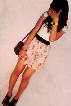 yellow watch casio baby-g accessories - black heels nose - pink skirt