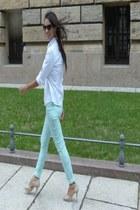 white cotton Esprit blouse - aquamarine New Yorker pants - beige sandals