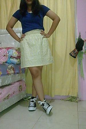 Zara t-shirt - tailor made skirt - Converse shoes -
