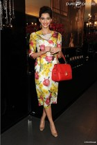 onion D&G dress - red D&G bag
