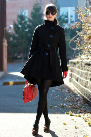 black Steve Madden coat - red Marc Jacobs bag - black Juicy Couture sunglasses