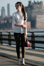 Gold-tory-burch-flats-cream-armani-exchange-shirt