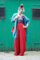 turquoise blue vintage cardigan - red palazzo vintage pants
