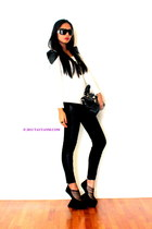 black bag - white top - black wedges - black pants