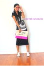 Black-dress-bubble-gum-purse-white-kawaii-sneakers-hot-pink-glasses