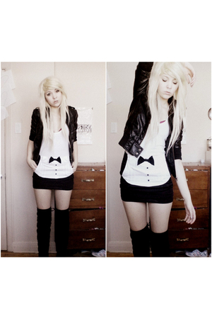black H&M jacket - white shirt - black emily the strange skirt - black boots