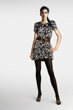 mini H&M dress - striped H&M tights - faux leather H&M belt - suede H&M heels
