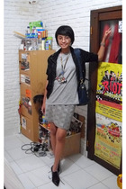 vintage skirt - giordano t-shirt - Magnolia jacket - dies shoes