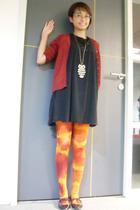 melawai blazer - vintage dress - Online store tights - Zara shoes - owly necklac