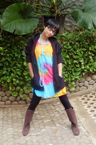 black no brand jacket - blue Naughty necklace - brown garage store boots - black