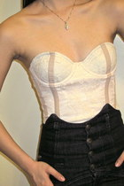 dark gray Miss Sixty jeans - light pink lace corset H&M bodysuit