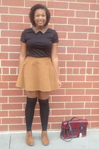 corduroy circle skirt - bucks shoes - cheetah collar shirt - bag - socks