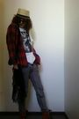 Red-secondhand-plaid-shirt-shirt-ksubi-vague-t-shirt-cheap-monday-jeans-bl