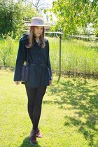 brown premium shoes shoes - beige vintage hat - green my moms cardigan - black H